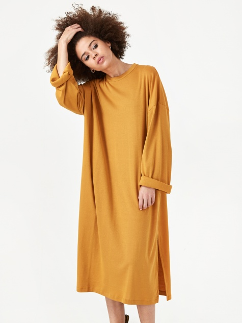 Pia Loose Fit Longsleeve Dress - Honey Mustard