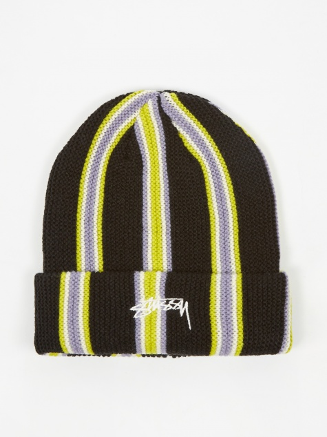 Vertical Stripe Cuff Beanie - Black