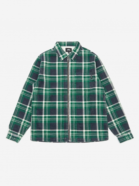 Big Wale Cord Zip Up Longsleeve Shirt - Green Plaid