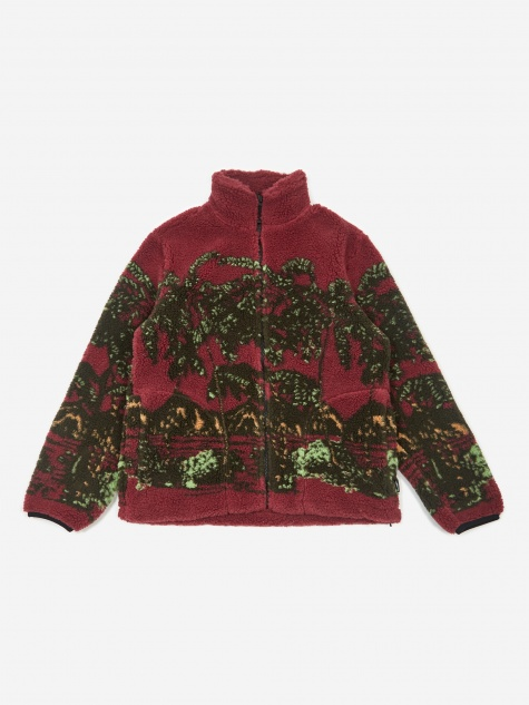 Hawaiian Jacquard Fleece Jacket - Berry