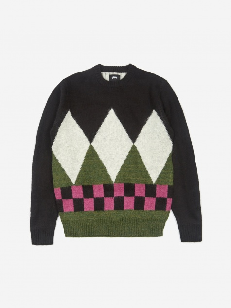 Diamond Check Mohair Jumper - Black