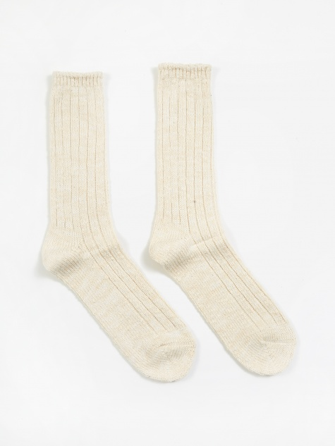 Slub Crew Sock - Off White