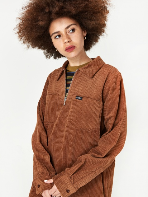 Garret Big Wale Cord Shirt - Brown