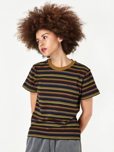 Stussy Cruz Stripe Cropped T-Shirt - Black