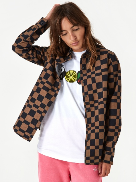 Stussy Sabi Checker Longsleeve Shirt - Brown