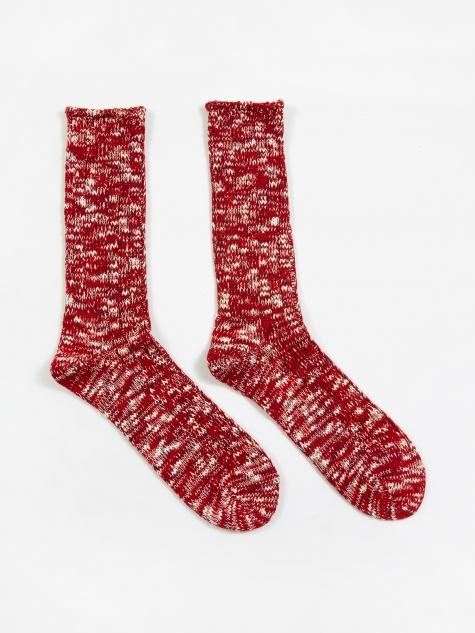 Slub Crew Sock - Red