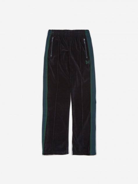 Narrow Velour Track Pant - Navy