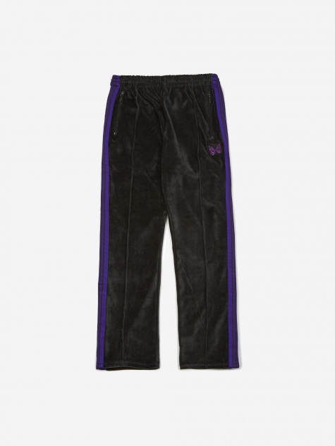 Narrow Velour Track Pant - Charcoal