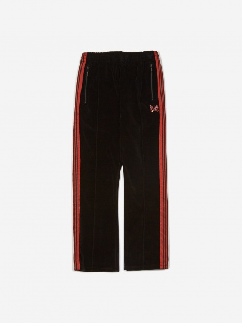 Narrow Velour Track Pant - Black