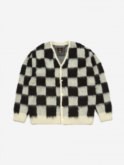Needles Mohair Cardigan - Off White Checkered