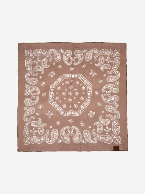 Silk Crepe Bandana Scarf - Brown