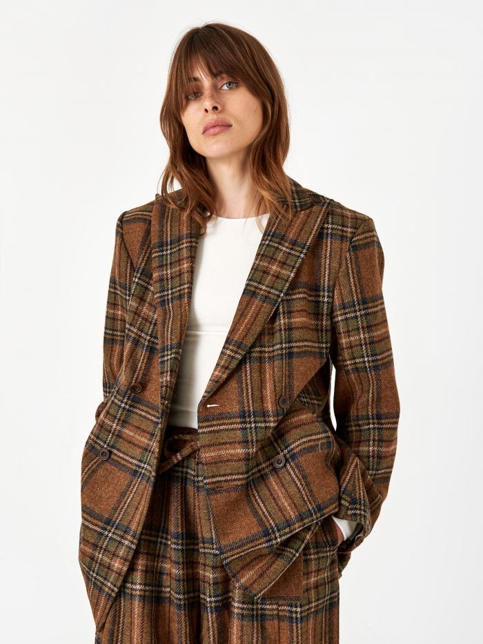Needles Plaid Tweed BD Jacket - Brown (Image 1)