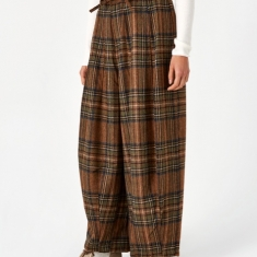 Needles Plaid Tweed Darts Military Pant - Brown