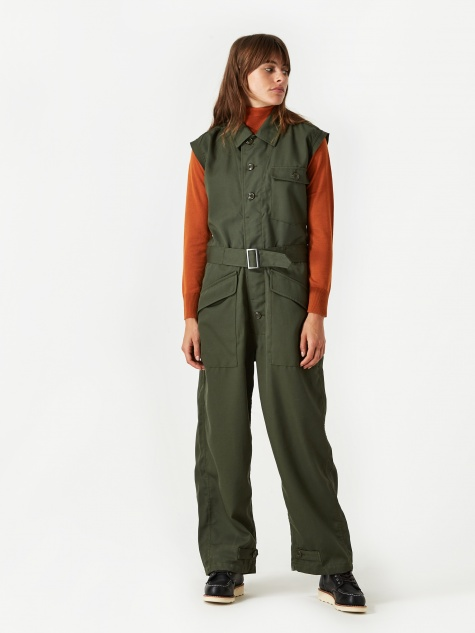 Cut Off Sleeve Jumpsuit - Olive