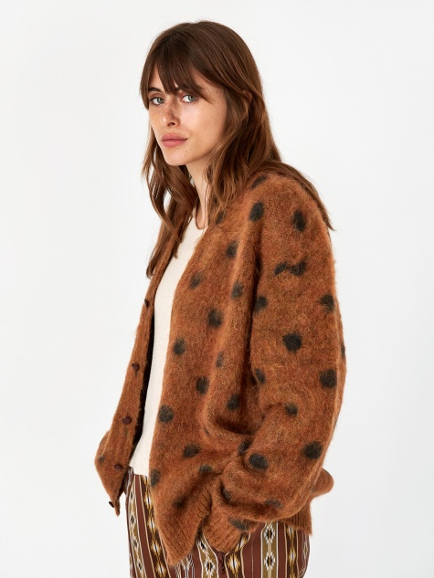 Mohair Cardigan - Brown Polka Dot