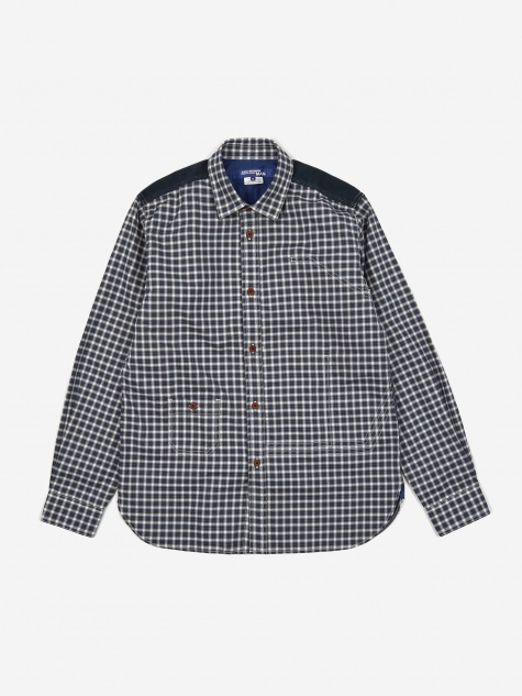 Cotton Flannel Oxford Shirt - Navy/Grey/Whit