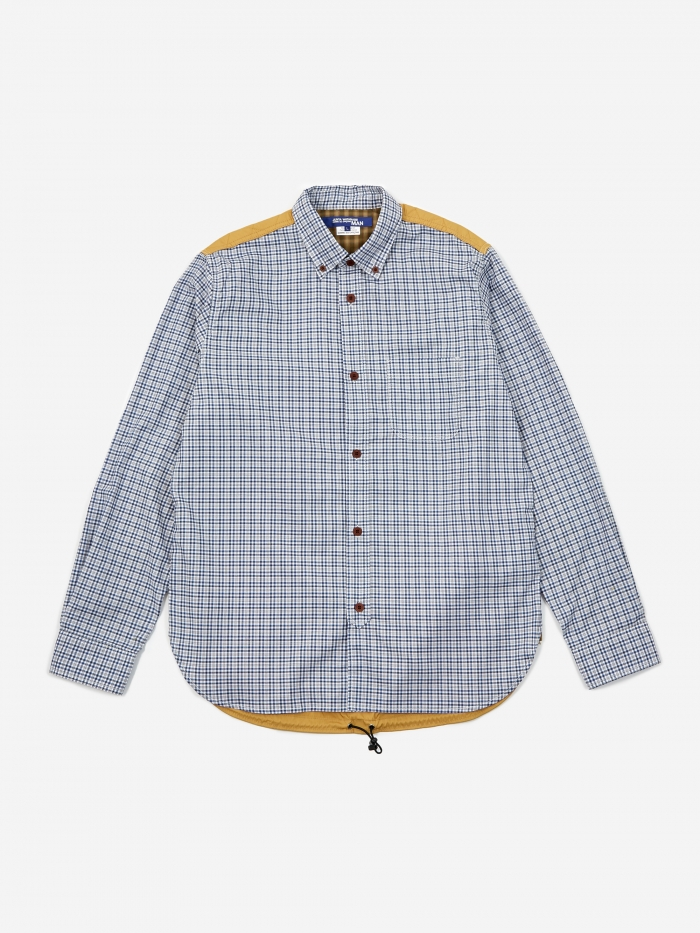 Junya Watanabe Man Check Cotton Oxford Shirt - White/Navy/Grey (Image 1)