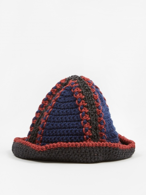 Jute Bucket Hat - Navy/Red/Black