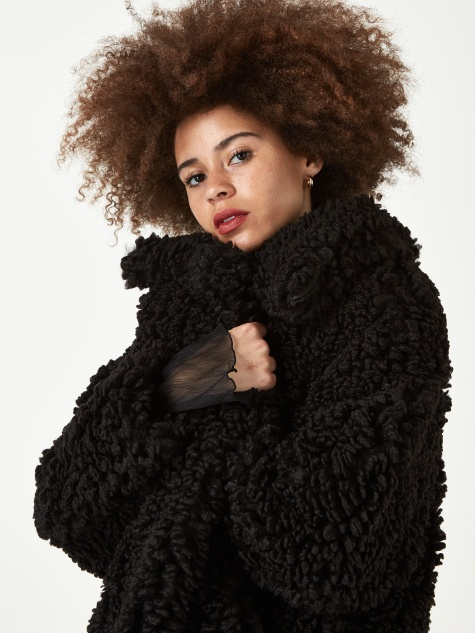 Lamby Faux Fur Half Coat - Black