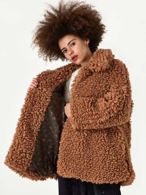 Lamby Faux Fur Half Coat - Indian Tan