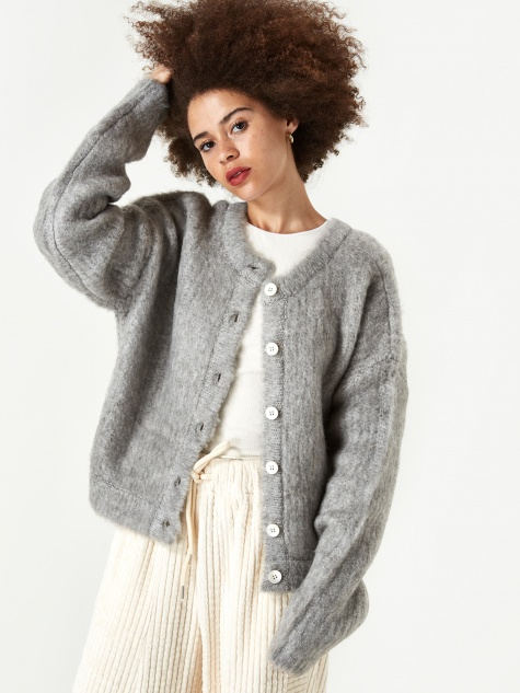 Neul Brushed 2 Way Knit Cardigan - Quiet Grey