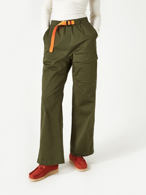 Neul Colour Pointed Webbing Belt Pant - Artichoke Green