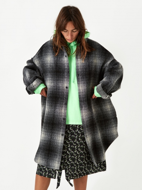 Stand Alone Check Coat - Black
