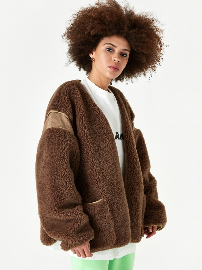 Stand Alone Fur Jacket - Brown Fur (Image 1)