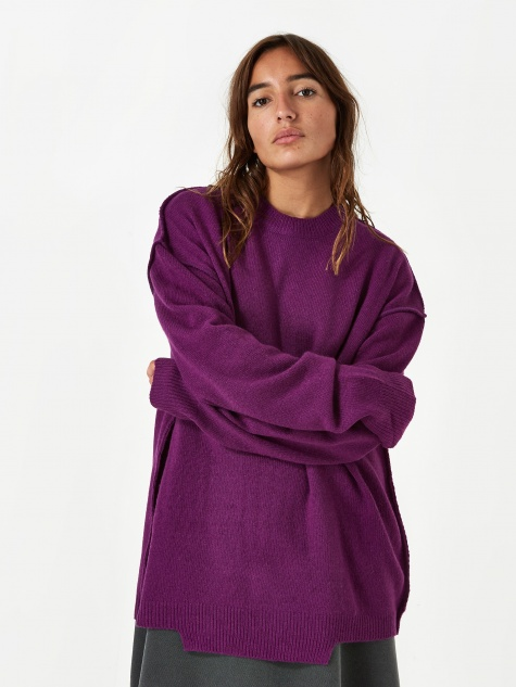 Oversized Knit Jumper - Purple