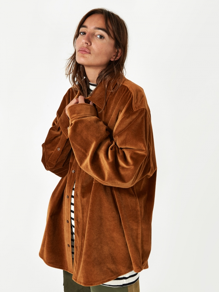 Stand Alone Velvet Loose Shirt - Brown (Image 1)