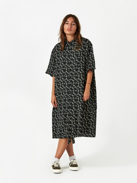 Oversized Shirt Dress - Black