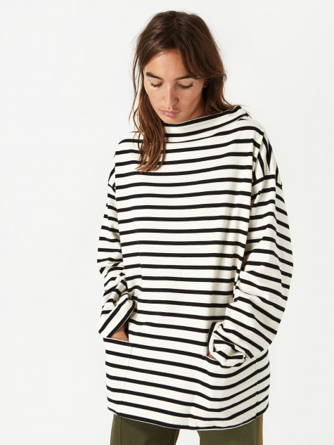 Boat Neck Stripe Longsleeve T-Shirt - Ivory/Black