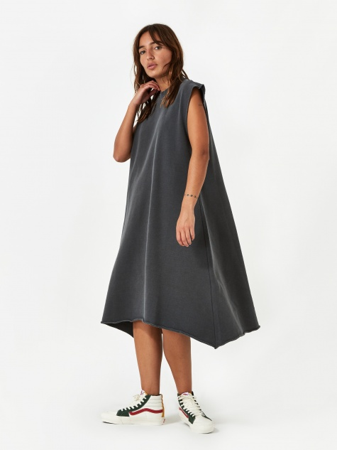 Sleeveless Pigment Dye T-Shirt Dress - Grey