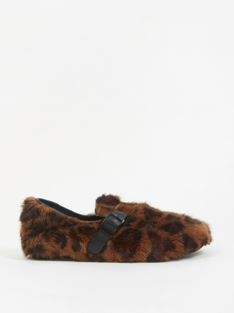 Faux Fur Slip On Shoe - Leopard