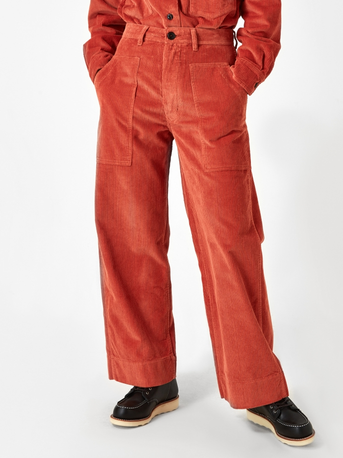 Girls Of Dust Sailor Corduroy Fatigue Trouser - Tangerine (Image 1)
