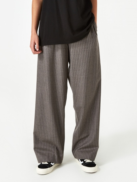 Wide Leg Pull On Trouser - Oatmeal Stripe