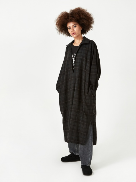 Winter Kaftan Dress - Brown Plaid