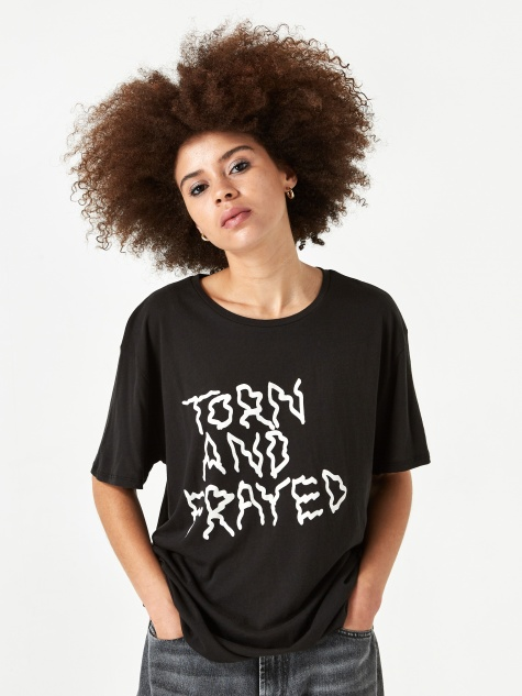 Torn and Frayed Man T-shirt - Black