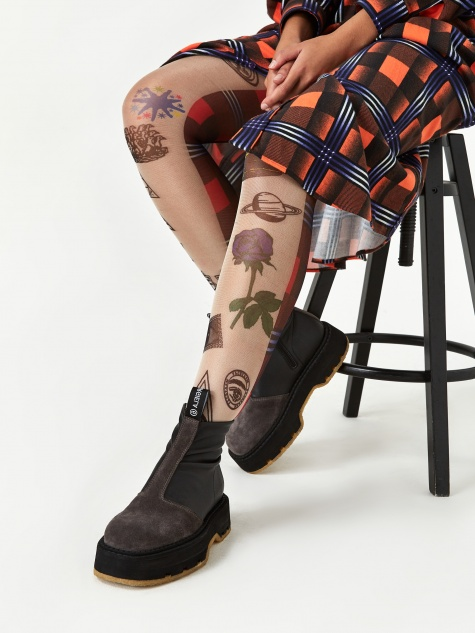 Patterned Tights - Orange