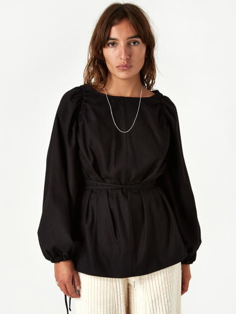 Honda Blouse Raw Silk - Black