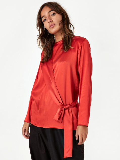 Baserange Gada Top Silk Satin - Simin Red
