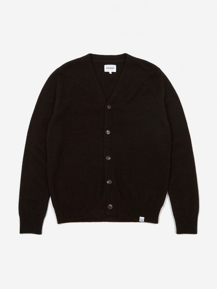 Norse Projects Adam Lambswool Cardigan - Black (Image 1)