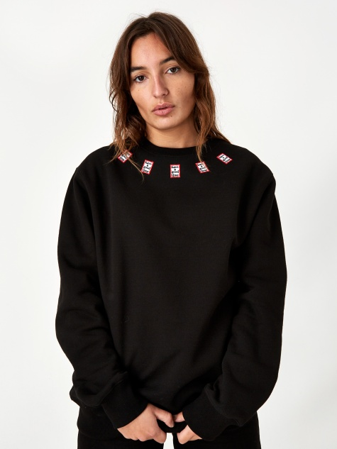 Mini Mini Frame Neck Crewneck Sweatshirt - Blac