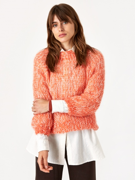 Mohair Basic Sweater - Signal Orange