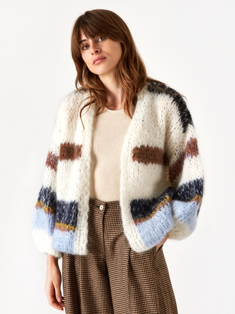 Maiami Mohair Big Stripe Cardigan - Cream/Soft Blue