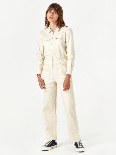 Danny Long Sleeve Boilersuit - Ivory