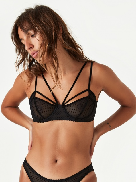 Gigi Underwire Bra - Black Dot