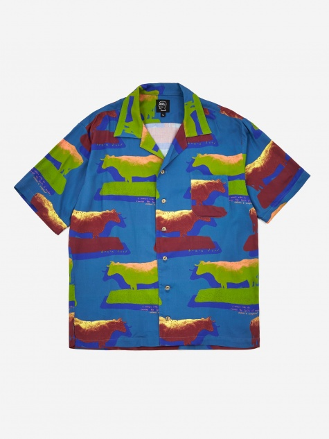 Cow Print Short Sleeve Button Shirt - Multi