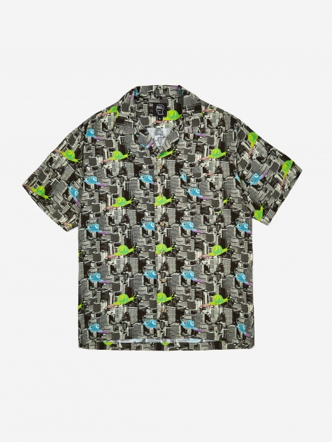 Snail Print Short Sleeve Button Shirt - Multi