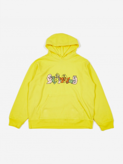 Embroidered Graffiti Hoodie - Light Yellow